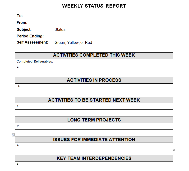 employee weekly status report template