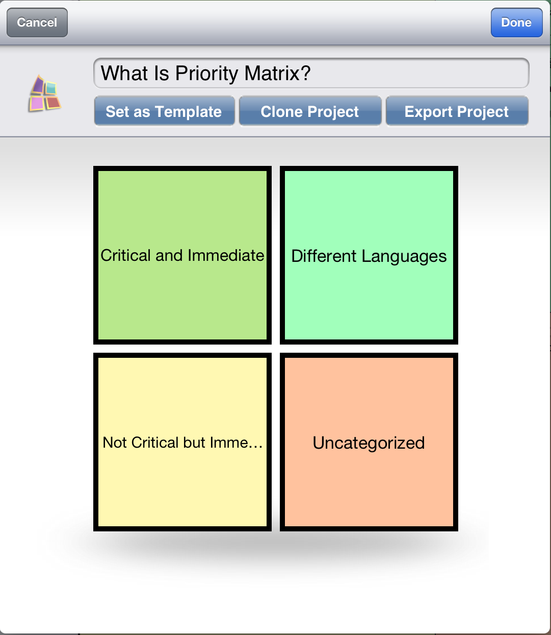 Manage projects with priority matrix for ipad app for Project prioritization criteria template