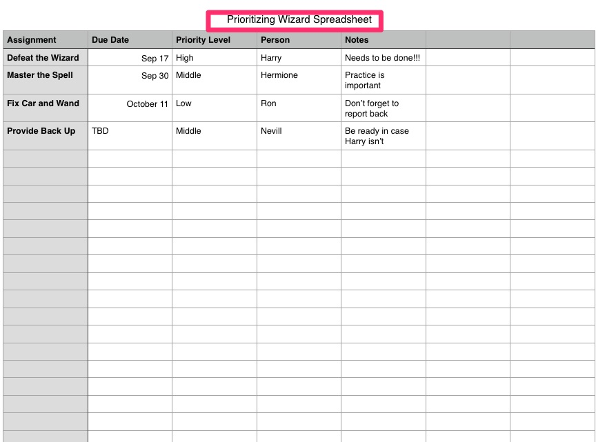 Excel Step 1 - Priority Matrix Productivity