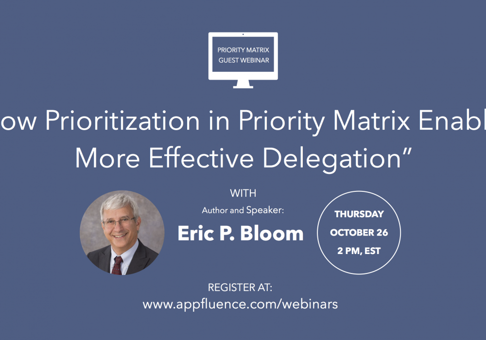 Priority Matrix Guest Webinar on Effective Delegation