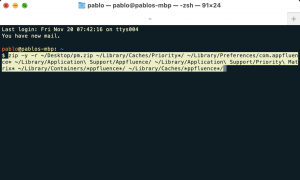 The macOS terminal showing commands to backup and wipe local data
